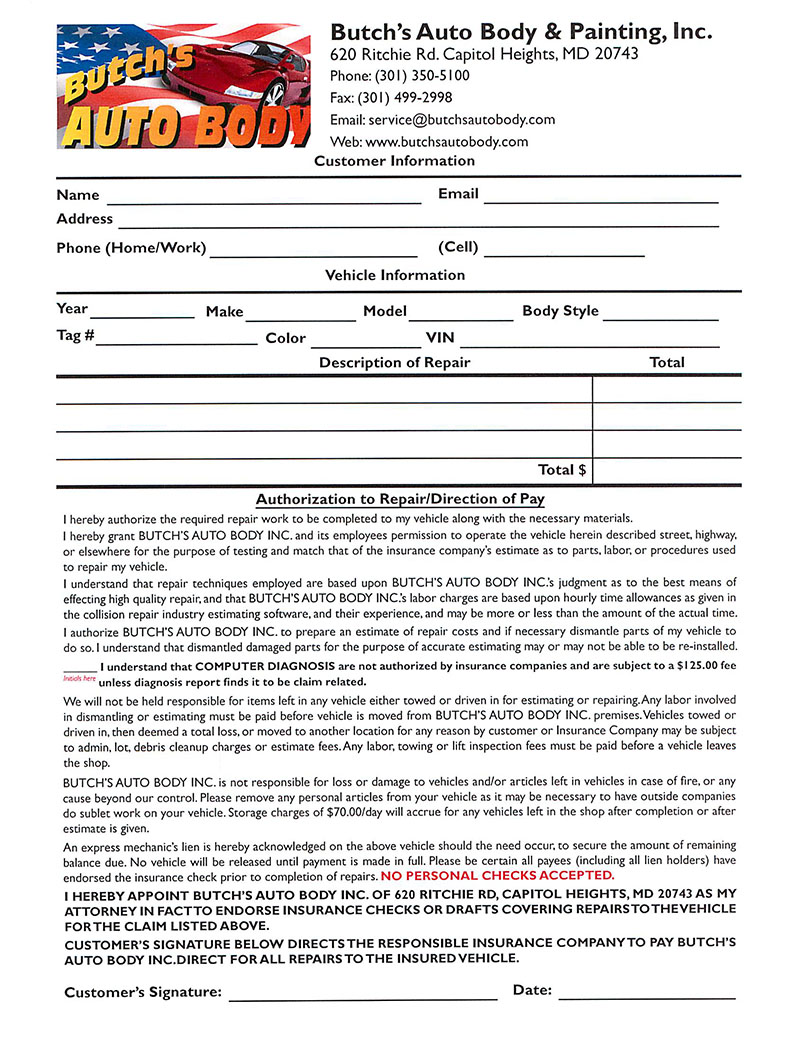 repair authorization form butchs butchs auto body